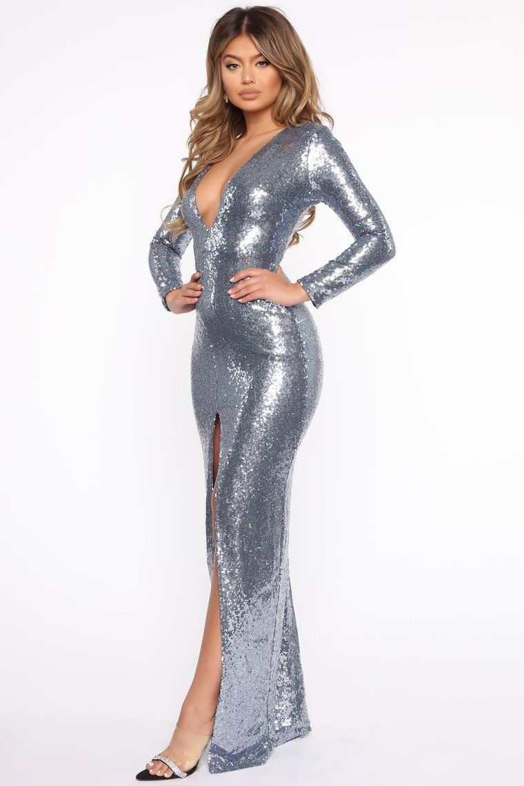 Need More Attention Sequin Maxi Dress Blue Dresses