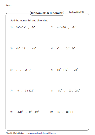 Polynomials Single Variable Level 1 Printable Math Worksheets Math Worksheets Worksheets