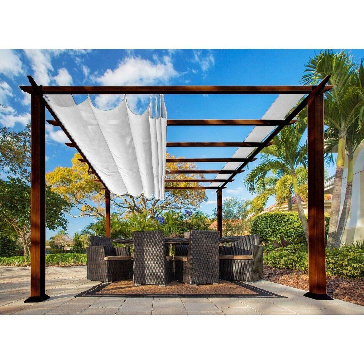 Paragon Brown Aluminum Pergola With Creme Canopy Pergola Aluminum Pergola Backyard Pergola