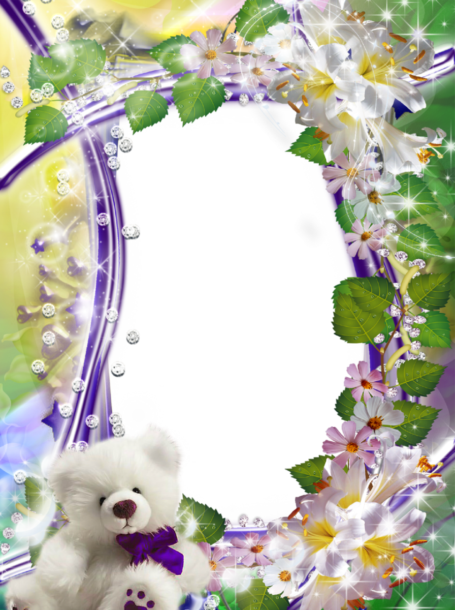 Cute-Flower-Picture-Frame-with-Fluffy-White-Teddy-Bear.png (896×1200 ...