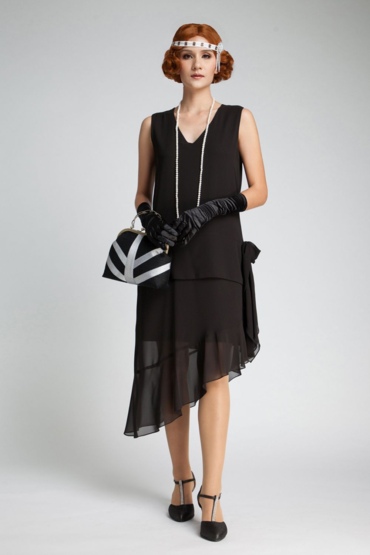 Women/'s Black 1920/'s Charleston Gatsby Fancy Dress Hat /& Flower Hen Theme Fun Do
