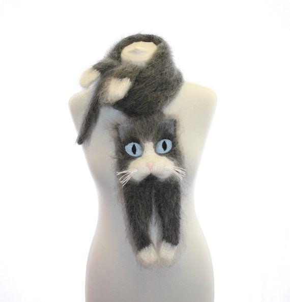 Knitted Scarf / Snowshoe Cat / Fuzzy Soft Scarf / dark grey