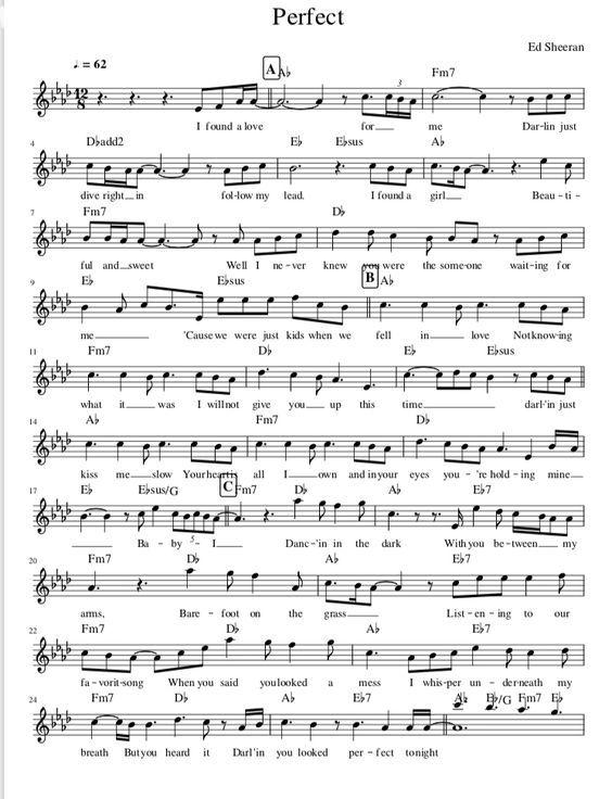 Partitura De Perfect De Ed Sheeran Y Nuestra Version Para Piano