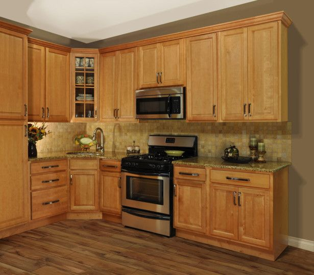 Best L Shaped Honey Maple Kitchen Cabinet With Freestanding 400 x 300