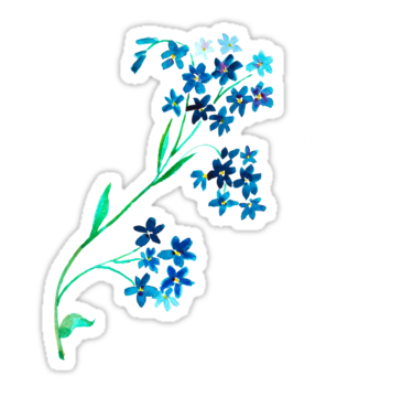 'Watercolor blue flower.' Sticker by Ann Astro