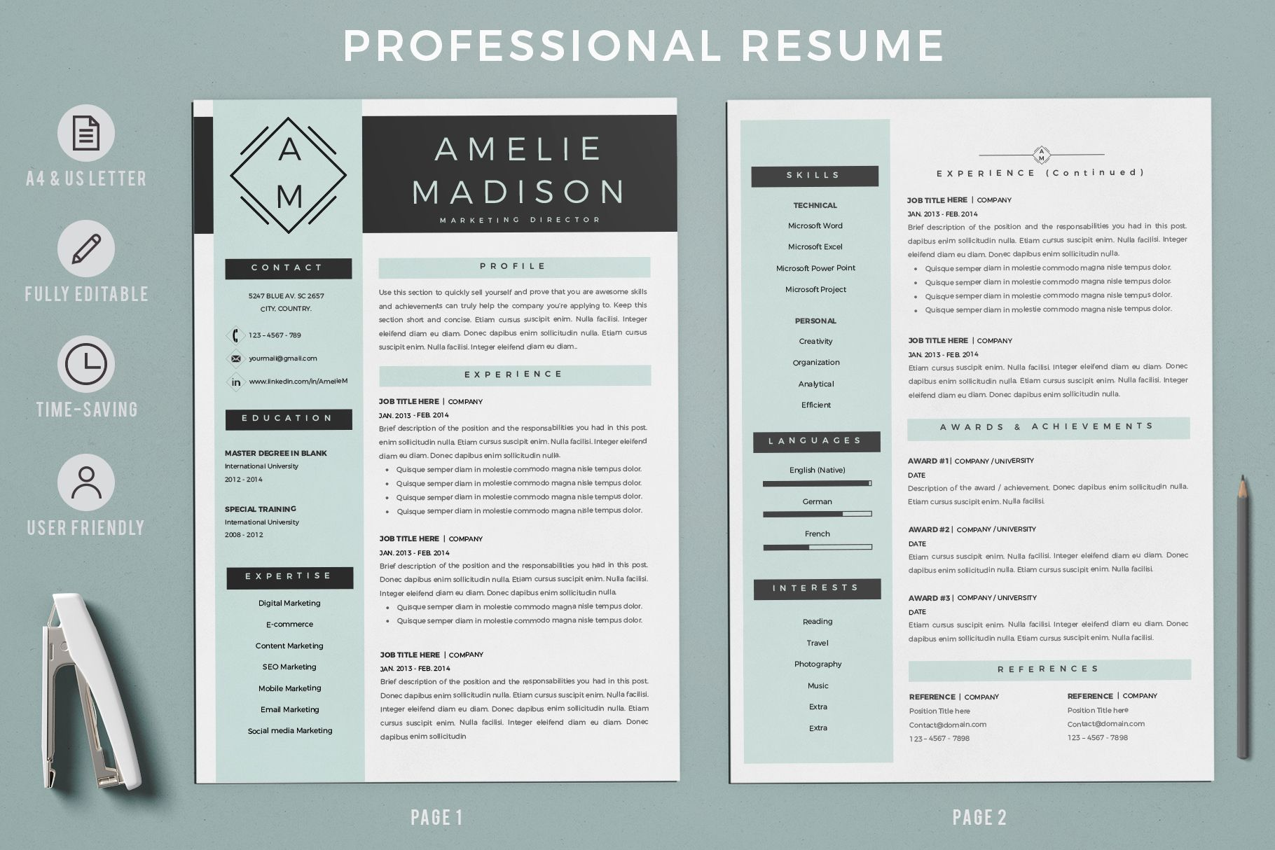 Creative Resume Templates For Ms Word And Mac Pages Professional Resume Templates And Matching Cov Marketing Resume Cover Letter Format Resume Design Template