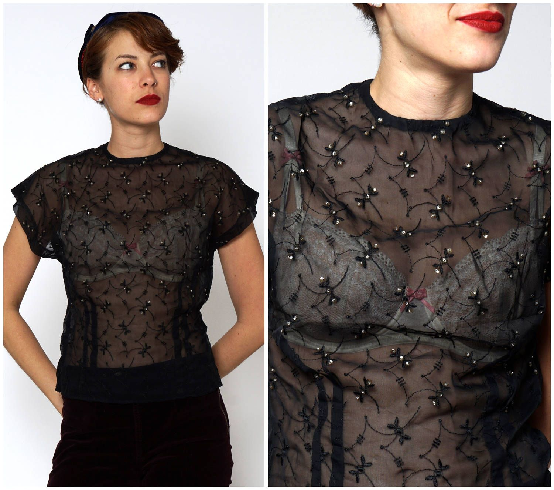 Vintage Black Sequin embroidered Top