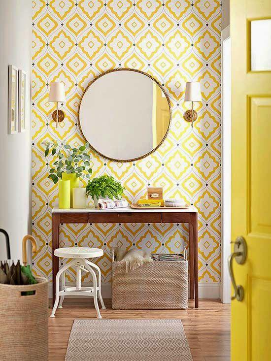 Yellow wallpaper | For the Home | Pinterest | Wallpaper, Interiors ...