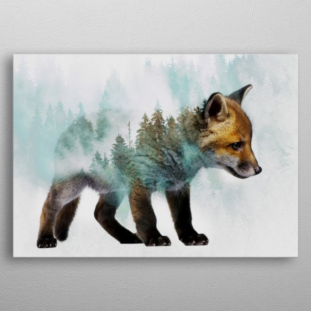 Baby Fox metal poster | Displate thumbnail