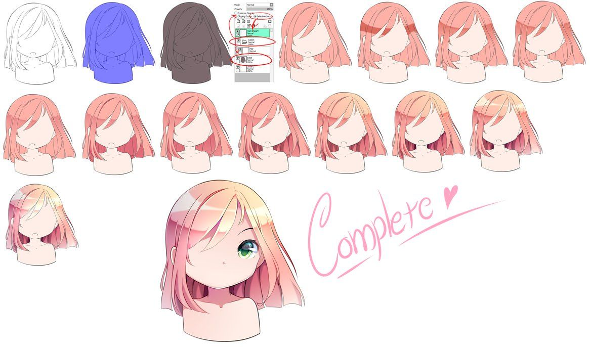 [Tutorial] Hair Coloring by MiruukiiART Anime hair color