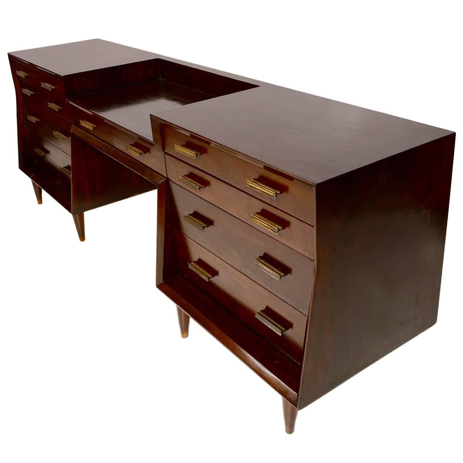 Mexican Modernist Double Dresser With Desk Double Dresser Mexican Furniture Desk