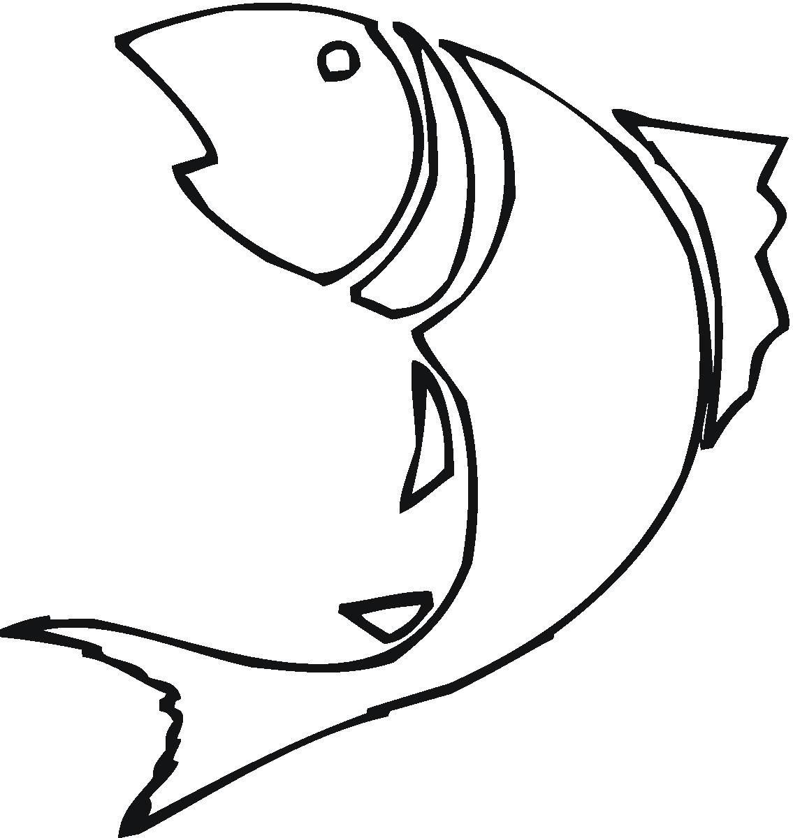 Fish outline coloring. Drawing clipart best cnc