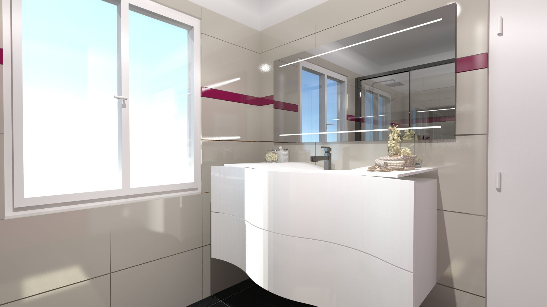 Salle De Bain Blanche Et Rose Fushia Realisation Ms Design Pinterest