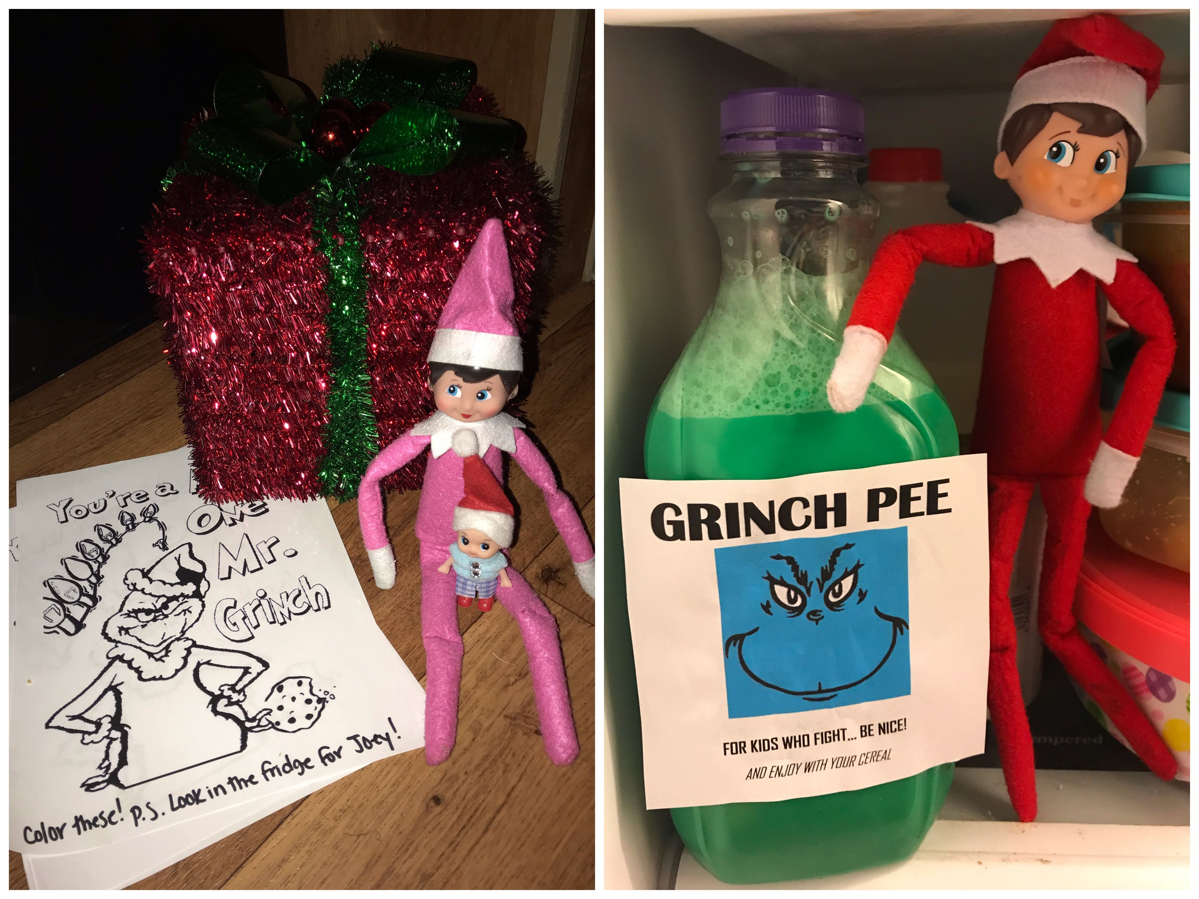 - Elf On The Shelf. Grinch Pee (Colored Milk) Elf, Elf On The