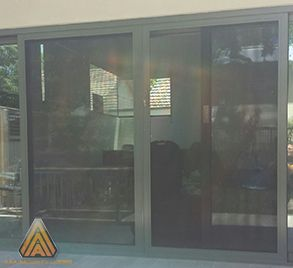 Aluminum frame sliding security doors with stainless steel