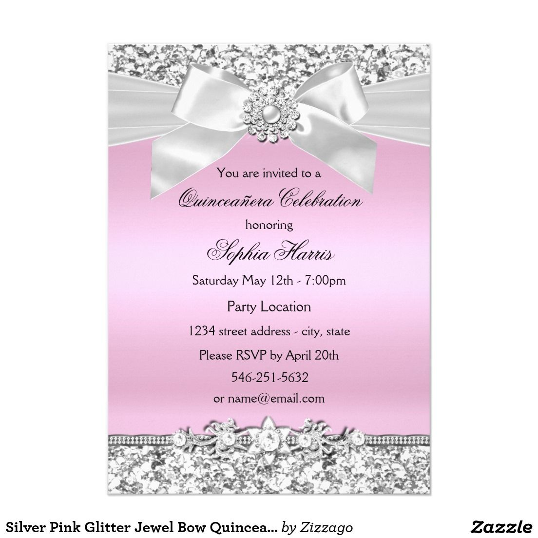 Silver pink glitter jewel bow quinceanera birthday 5x7 paper silver pink glitter jewel bow quinceanera birthday 5x7 paper invitation card stopboris Choice Image