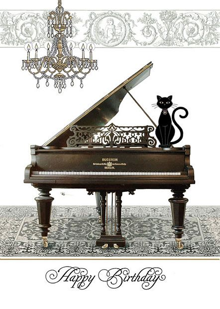 Piano by Jane Crowther. Bug Art greeting cards. #katzengeburtstag