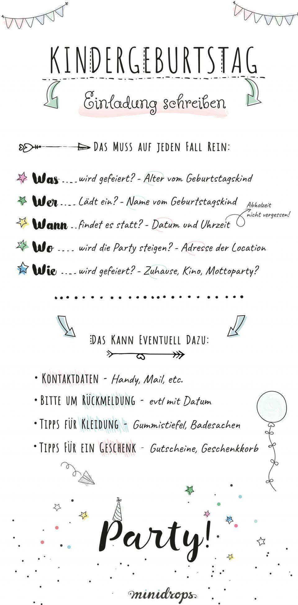 Lovely Texte Einladungen Geburtstag #7: Text Ideen Für Die Einladung Zum Kindergeburtstag U2022 Minidrops