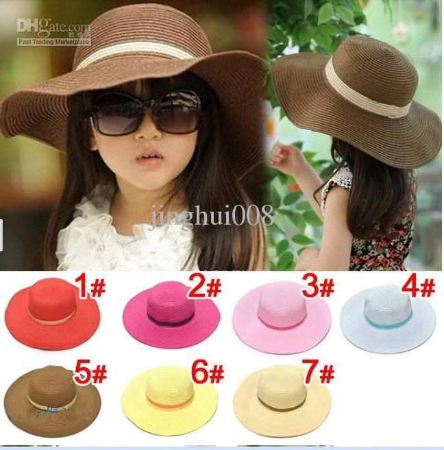 Wholesale Sun Hats Kids Straw Fedora Cap Children Summer Large Brim Girls  Beach Hat Baby Summer Hat 74b58c041997