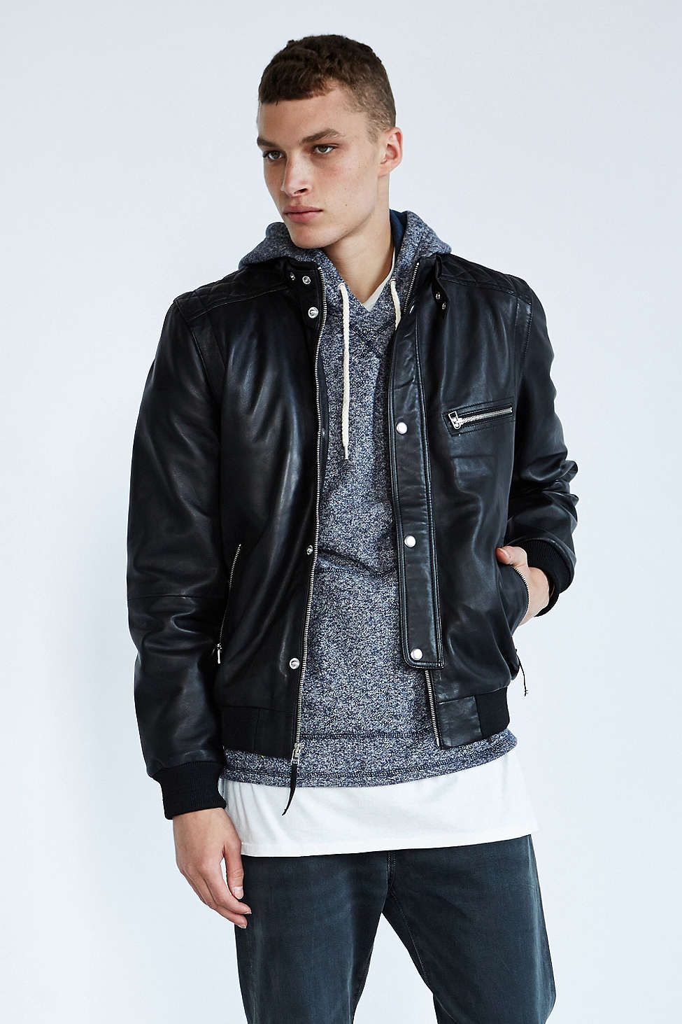 Leather jacket urban outfitters - Urban Your Neighbors Quilted Caf Leather Jacket Urban Outfitters