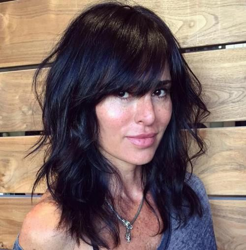 Medium Length Hairstyles With Bangs Simple 40 Sideswept Bangs To Sweep You Off Your Feet  Pinterest  Black