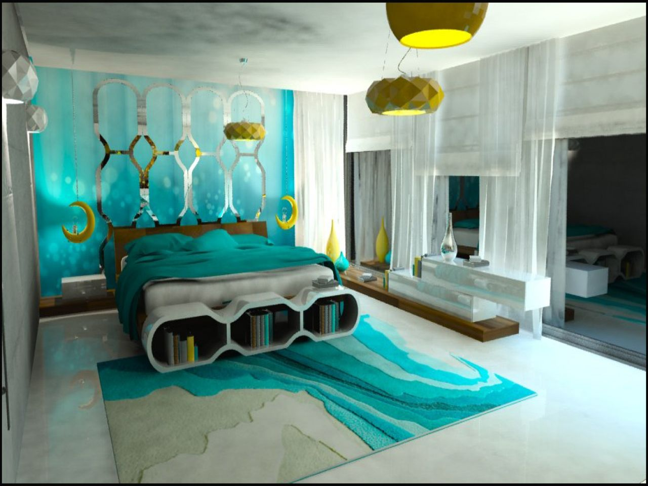 Marvelous Turquoise Color Bedroom Ideas Part - 2: Turquoise Bedroom: 17 Ideas For Inspiration Tags: Bedroom Turquoise And  Beige, Turquoise Bedroom