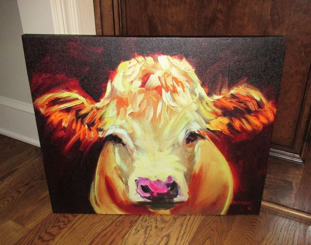 Large COW Face Head CANVAS Wall PICTURE*Farmhouse Primitive/French ...