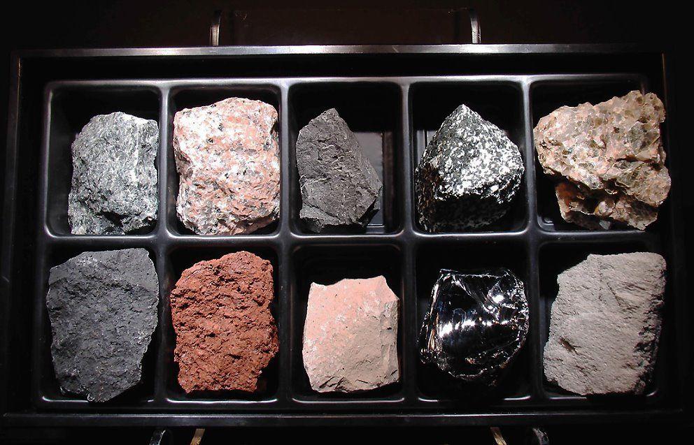 Igneous Rocks. Gabbro, Granite (pink), andesite ...