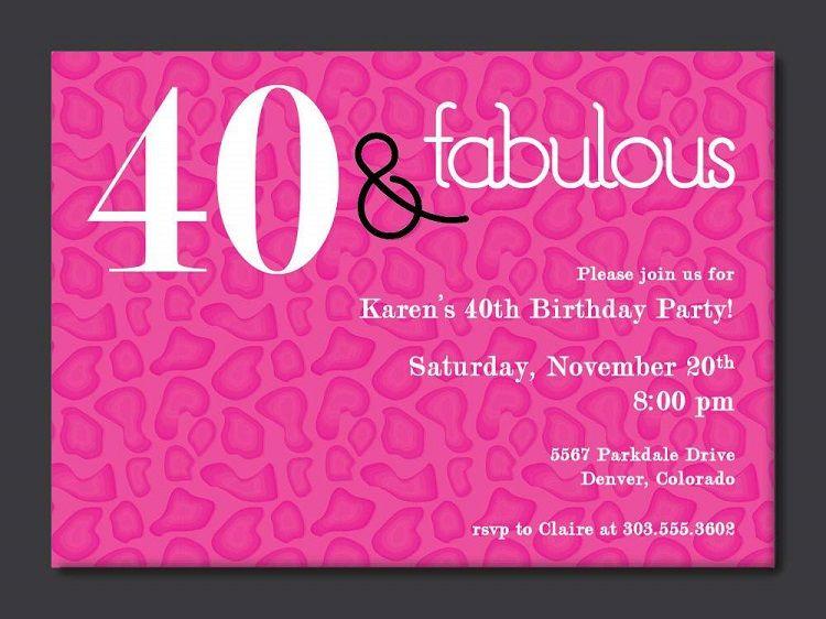 Sample 40th Birthday Invitation Wording
