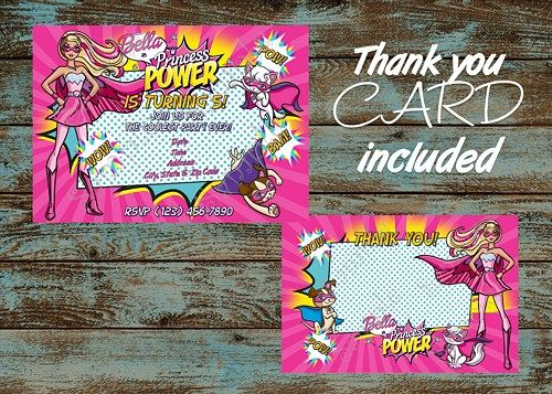 Barbie in Princess Power Birthday Invitation, FREE thank you card