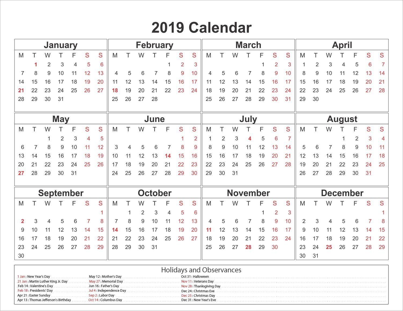 calendar 2019 with holidays calendar2019 printablecalendar holidays2019