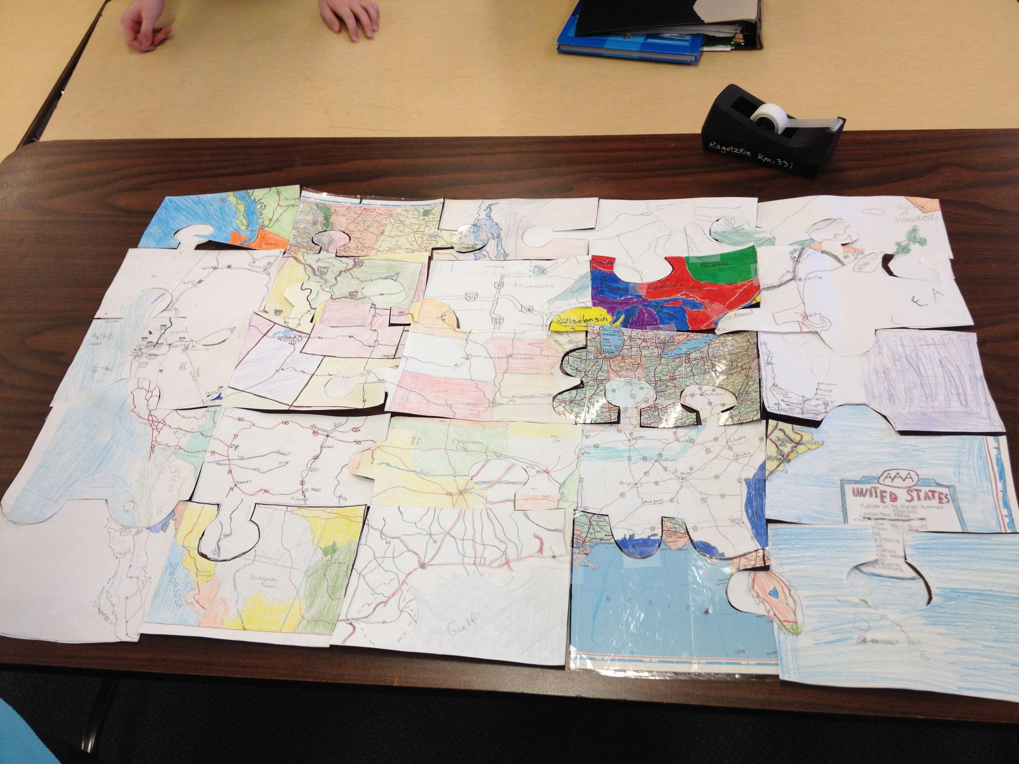 U S Puzzle Map
