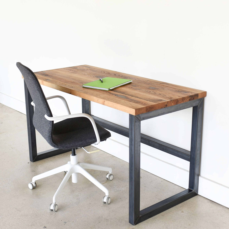 Industrial Reclaimed Wood Desk 2 X 2 Metal Frame En 2020 Avec