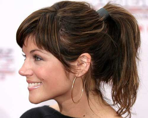 Medium Hair Ponytail Hairstyles With Bangs Hair Hair Styles