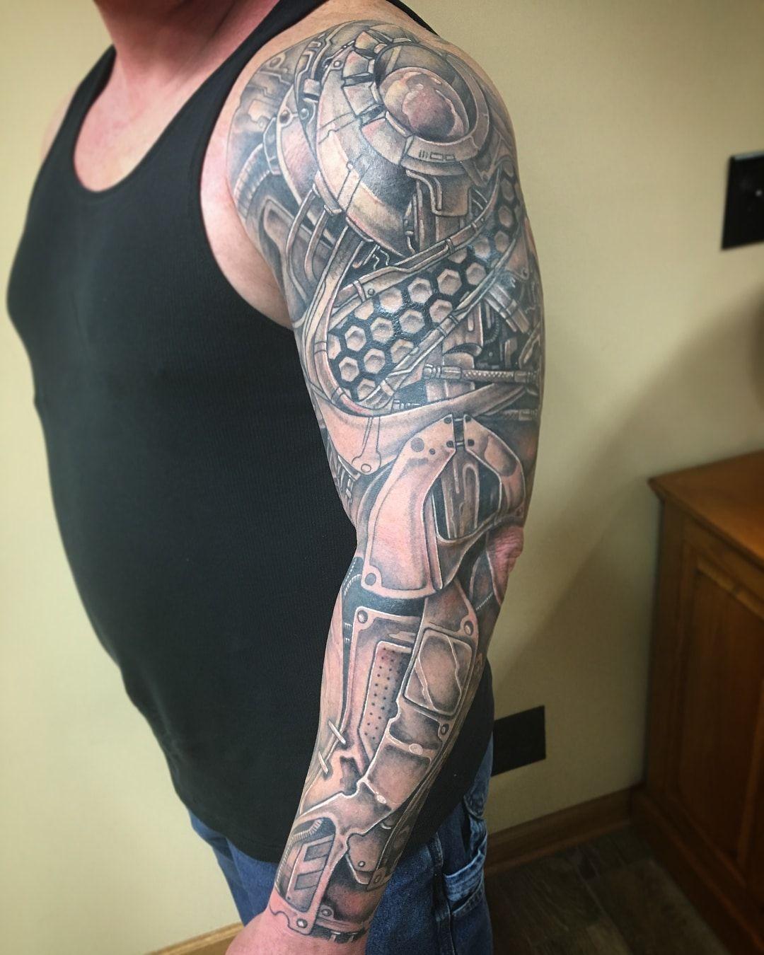 101 Amazing Robot Arm Tattoo Ideas That Will Blow Your Mind In 2020 Biomechanical Tattoo Design Tattoos Arm Tattoo
