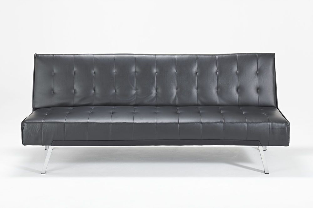 Toronto New Black Faux Leather Sofa Bed Futon