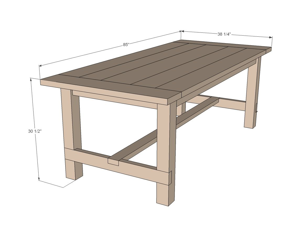Ana white build a farmhouse table updated pocket hole for White table design