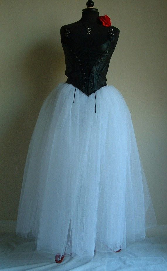 womens skirt tutu long white net tulle goth steam punk wedding prom ...