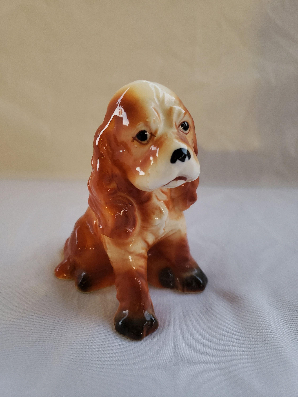 Vintage Ceramic Cocker Spaniel Dog Figurine Cocker Spaniel Statue Brown & White Dog Figurine Dog Knick Knack #knickknack
