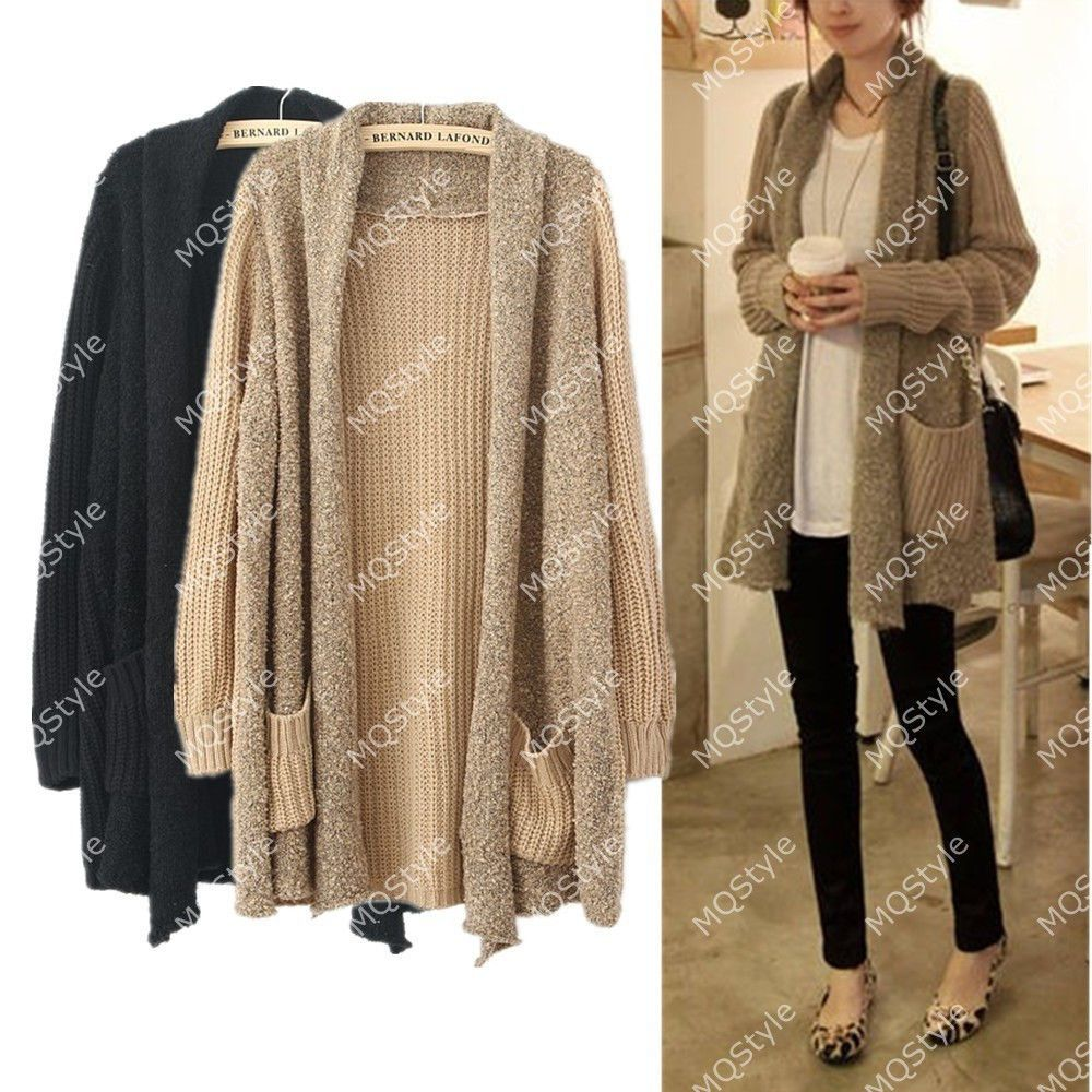 Womens Girls Fashion Loose Splice Knitted Long Sleeve Cardigan ...