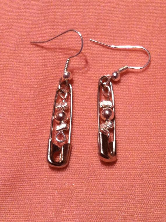 Metal Beaded Safety Pin Earrings by kawaiiko89 on Etsy, $5.00