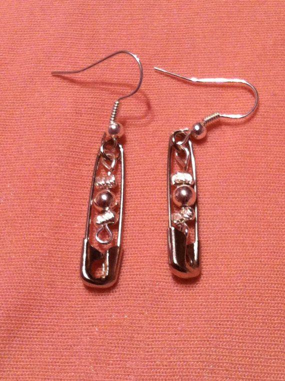 Metal Beaded Safety Pin Earrings By Kawaiiko89 On Etsy 5 00