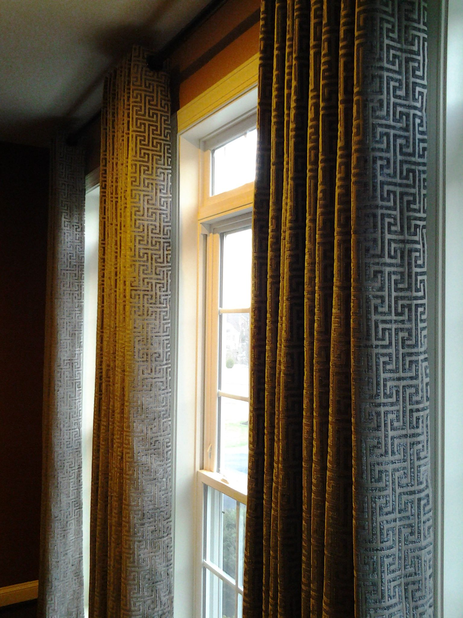 office drapes. Home Office Drapery From Inspired Drapes With Budget Blinds! The Greek Key Pattern Shows Up Again! #budgetblinds #bb_silverspring #moderndrapery