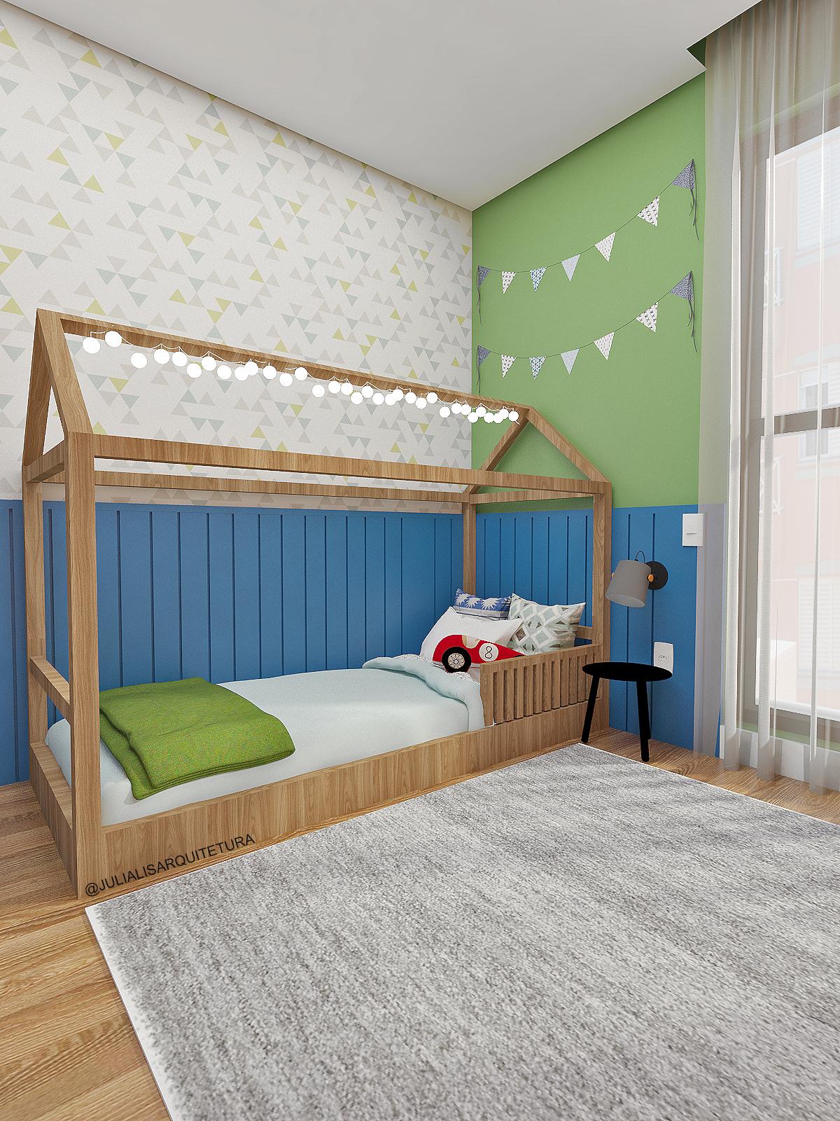 Quarto Infantil Montessoriano Com Lambri Azul Cama De Casinha  ~ Nicho Parede Quarto Infantil E Luminária Parede Quarto