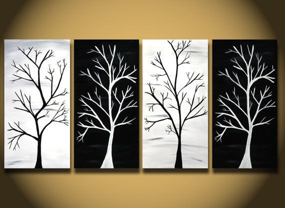 white painting, huge trees abstract painting wall art, large