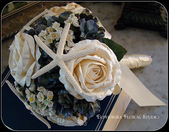Nautical Wedding Bouquet With Roses Starfish And Hygrangea Beach Blue Cream