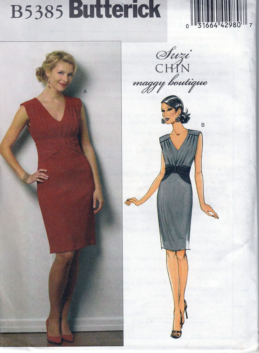 Suzi Chin Easy Sewing Pattern Butterick 5385 Alluring Cocktail Dress ...