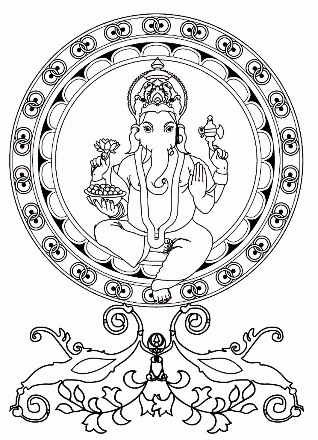 Free Indian Coloring Pages Beautiful Ganesh From The Gallery India