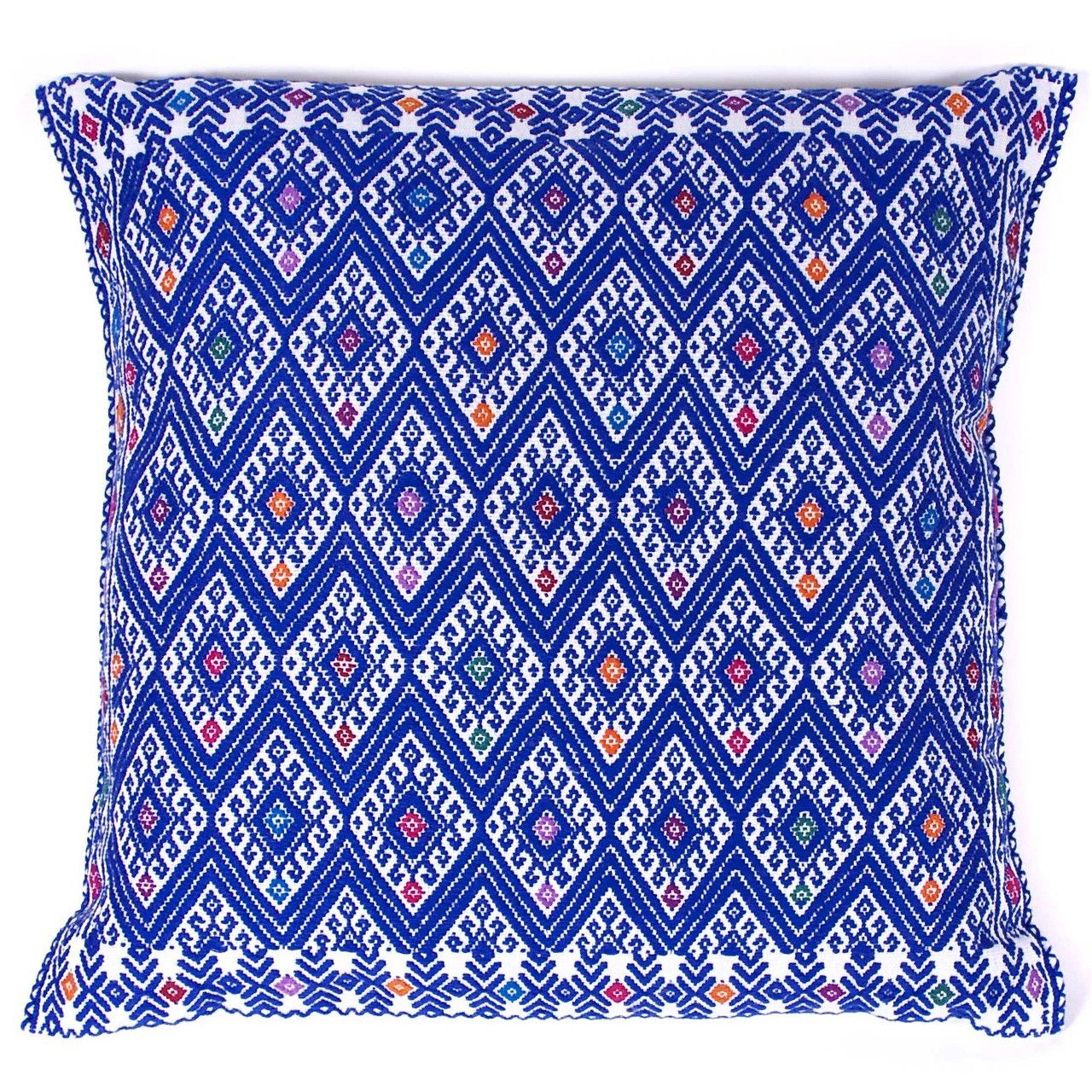 Hand-Embroidered Azure Pillow From Chiapas