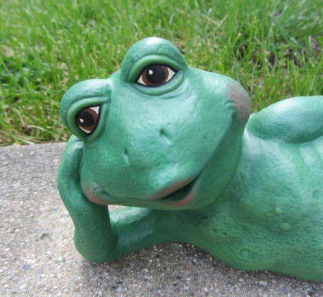 Ceramic Frog Laying Down Decoration, Ceramic Frog Garden Decor